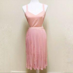 Cutout Waist Solid Pink Pleated Midi Dress Size M
